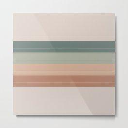 Retro Tan Rainbow Stripes Metal Print