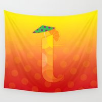 tequila Wall Tapestries featuring T for Tequila Sunrise by CHOCOLORS