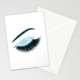 Glittery blue lashes illustration Stationery Cards