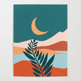 Moonlit Mediterranean / Maximal Mountain Landscape Poster