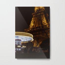 Eiffel Tower Carousel Metal Print