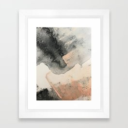 Peace and Quiet [2]: a pretty, minimal abstract piece in gray and peach by Alyssa Hamilton Art Framed Art Print