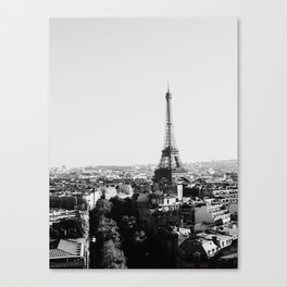 Paris City Sky // Eiffel Tower City Landscape Photography Shot from the top of Champs Elysees France Canvas Print