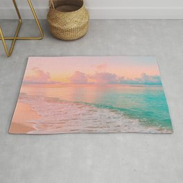 Beautiful: Aqua, Turquoise, Pink, Sunset Relaxing, Peaceful, Coastal Seashore Rug