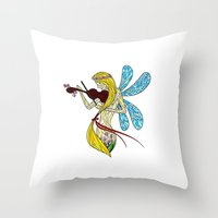 violin Throw Pillows featuring Violin by reyes_rjt