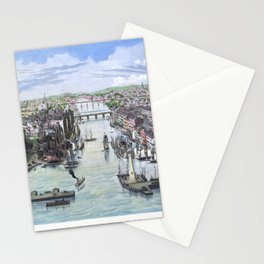 OSWEGO NEW YORK city old map Father Day art print poster Stationery Cards
