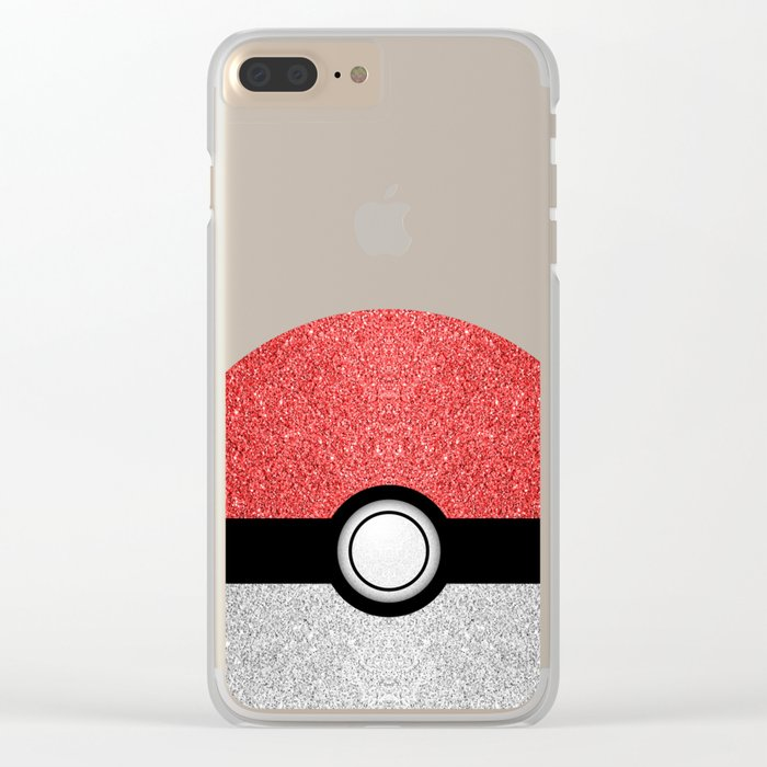 Sparkly red and silver sparkles poke ball Clear iPhone Case