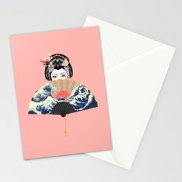 Portrait of japanese geisha woman with traditional fan design Stationery Cards