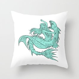 Mermaid Grappling With Sea Serpent Drawing Color Throw Pillow