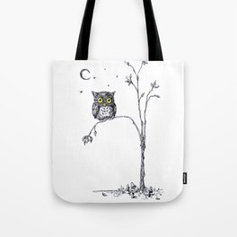 owl in the moonlight under the stars too big for his little tree Tote Bag