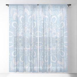 Boho Baby Blue Mandala Flower Sheer Curtain