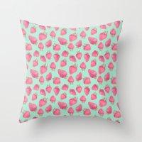 strawberry Throw Pillows featuring Strawberry  by Marta Olga Klara