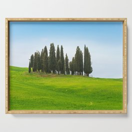 Beautiful spring minimalistic landscape with Italian Cypress on the green hills in Tuscany countrysi Serving Tray