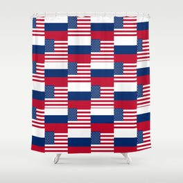 Mix of flag : Usa and russia Shower Curtain