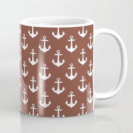 Anchors (White & Brown Pattern) Coffee Mug