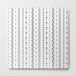 Boho mud cloth pattern, black and white Metal Print