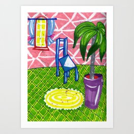Blue chair and a palm tree Art Print