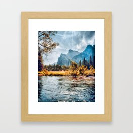 Cathedral Rocks from the valley floor. Yosemite, CA Framed Art Print