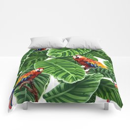 tropical leaves macaw pattern Comforters