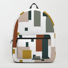 Blocks of Color, Modern, Abstract, Geometric Art, Terracotta, Yellow, Green, Grey Backpack
