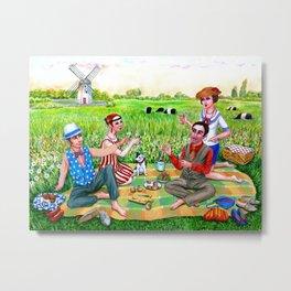 1920s Rhode Island. Jamestown, RI painting. Flapper art. Midsummer luncheon. Metal Print