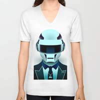daft punk V-neck T-shirts featuring Daft Punk by Alli Vanes