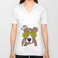bull terrier V-neck T-shirts featuring American Pit Bull Terrier by ialbert