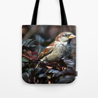 sparrow Tote Bags featuring Sparrow by Elaine C Manley