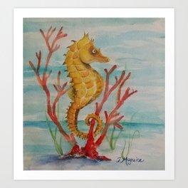 Salty Seahorse in Coral Reef  Art Print