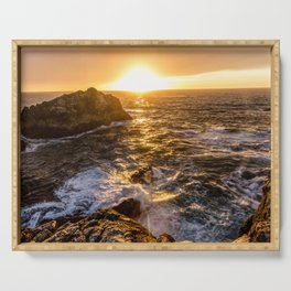 In Waves - Waves Crashing Into Rocks at Sunset In Big Sur Serving Tray