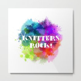 Knitters Rock! Metal Print