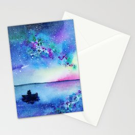 Romantic night || watercolor Stationery Cards