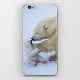 Polar bear with cub. Mother love. iPhone Skin
