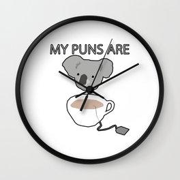 Koala Tea puns Wall Clock