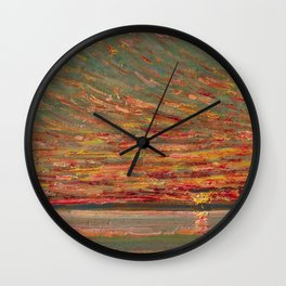 Red Skies at Night - Sunset nautical coastline ocean landscape painting by Childe Hassam Wall Clock