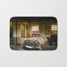 Old Car in a Garage Bath Mat