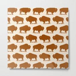Buffalo Bison Pattern 275 Yellow Ochre Metal Print