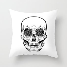 Side Effects Skull Throw Pillow