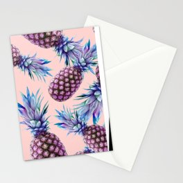 Purple Pineapple's on Coral Stationery Cards