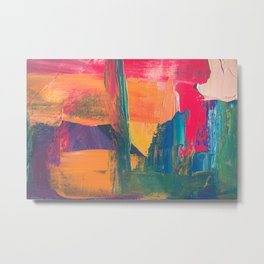Abstract Art Colorful Vibrant Strong Brush Strokes Metal Print