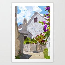 Old village in Brac island, Croatia Art Print