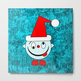 Funny silly Christmas Head poking out tongue Metal Print