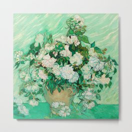 Vase with Roses Metal Print
