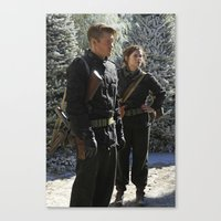 peggy carter Canvas Prints featuring Jack Thompson & Peggy Carter. by agentcarter23