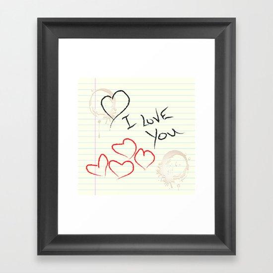 I love you doodle Framed Art Print