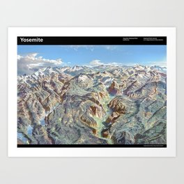 Sky Panorama Map of Yosemite National Park with Labels Art Print