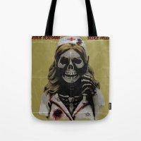 nurse Tote Bags featuring Killer Nurse by Bleachydrew