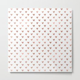 rose gold hearts Metal Print