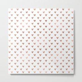 rose gold hearts Metal Print