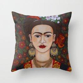 Frida with butterflies Throw Pillow